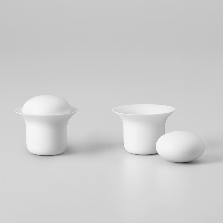 Stone tea cup set white  -  zens