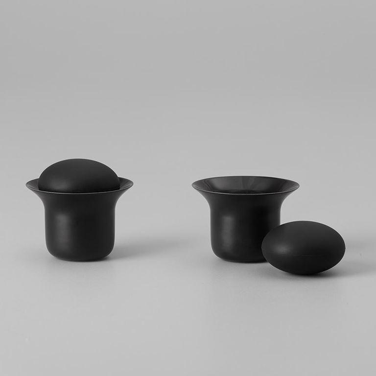 Stone tea cup set black  -  zens