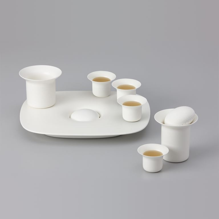Stone tea tray white  -  zens