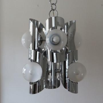 Lampada vintage in metallo cromato  - Italia anni '60