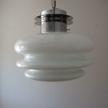 Lampada Vintage in Vetro Bianco  - Italia anni '60