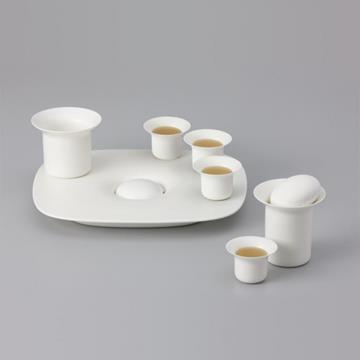 STONE TEA TRAY WHITE  -  Zens